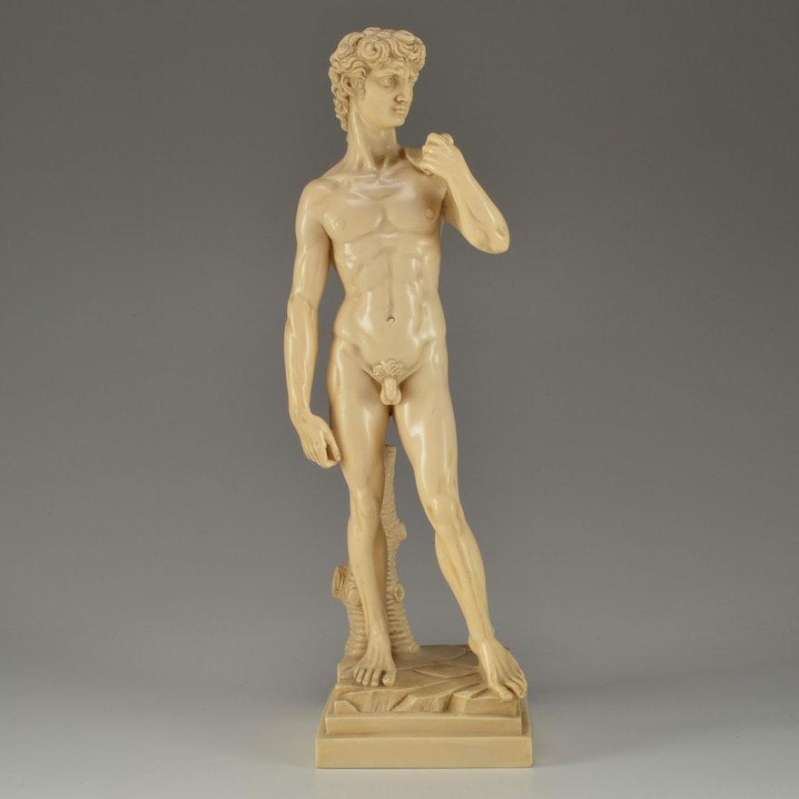G Ruggeri Signed Resin Sculpture Of David