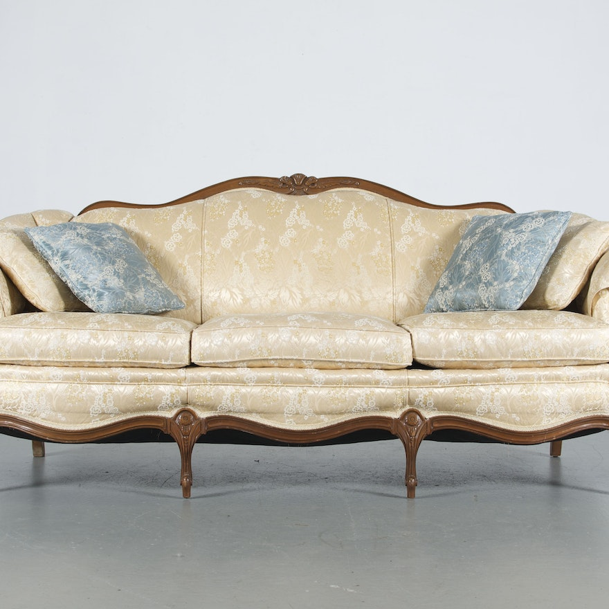 French Provincial Pale Yellow Sofa