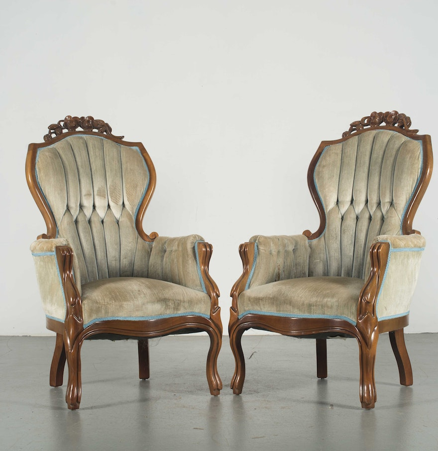 Pair Of Reproduction Victorian Armchairs Ebth
