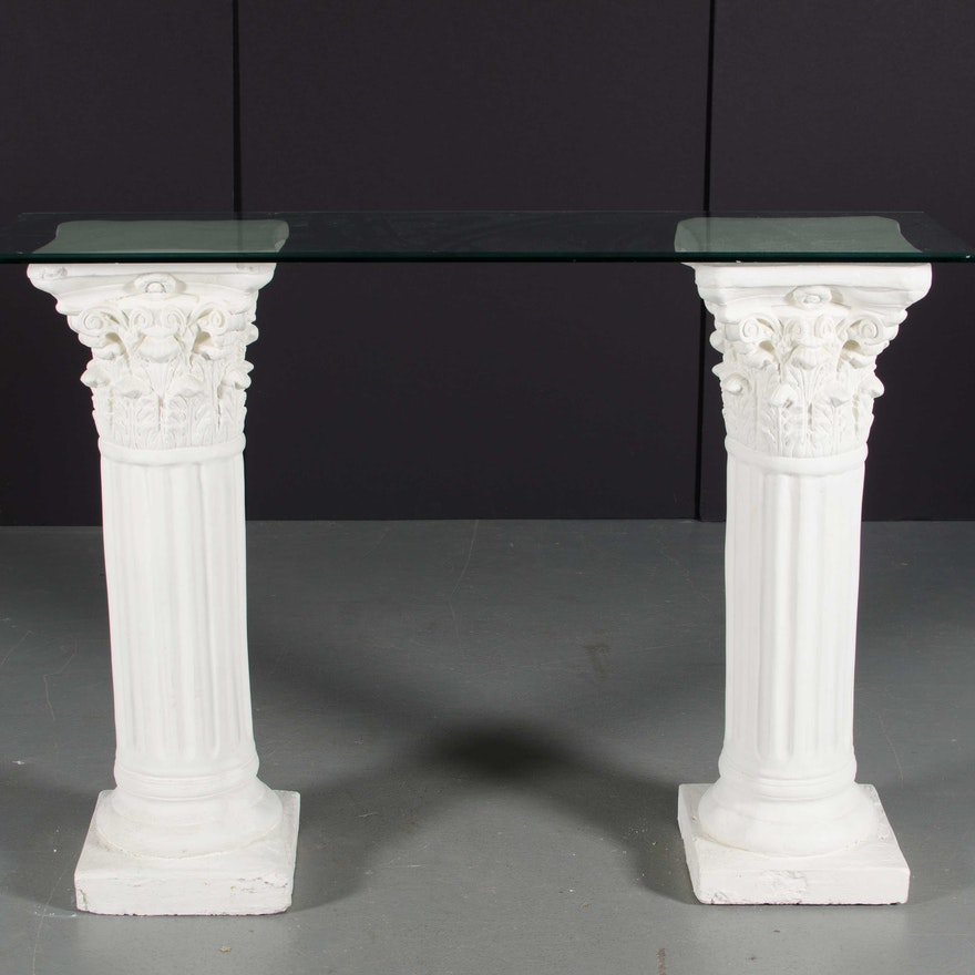 Corinthian Column Glass Top Entry Table Ebth