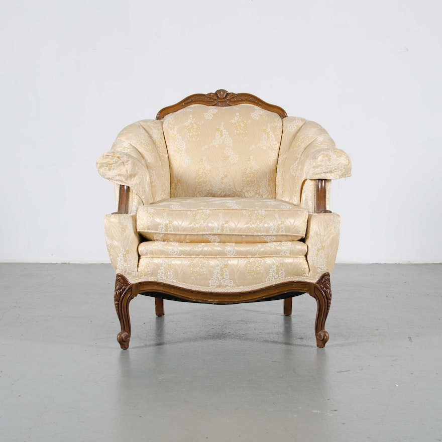 French Provincial Pale Yellow Armchair