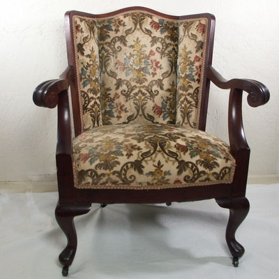 Early 20th Century Colonial Mohagany Upholstered Arm Chair - Vintage Chairs, Antique Chairs And Retro Chairs Auction : EBTH