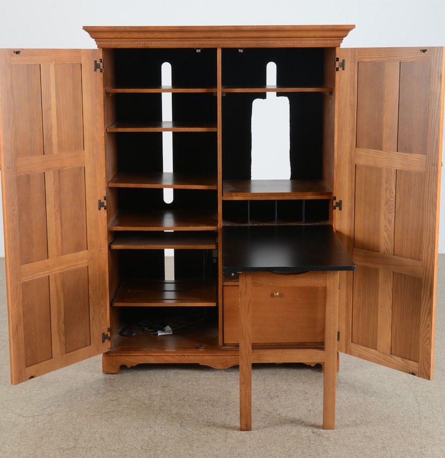 Contemporary Computer Armoire Desk : EBTH