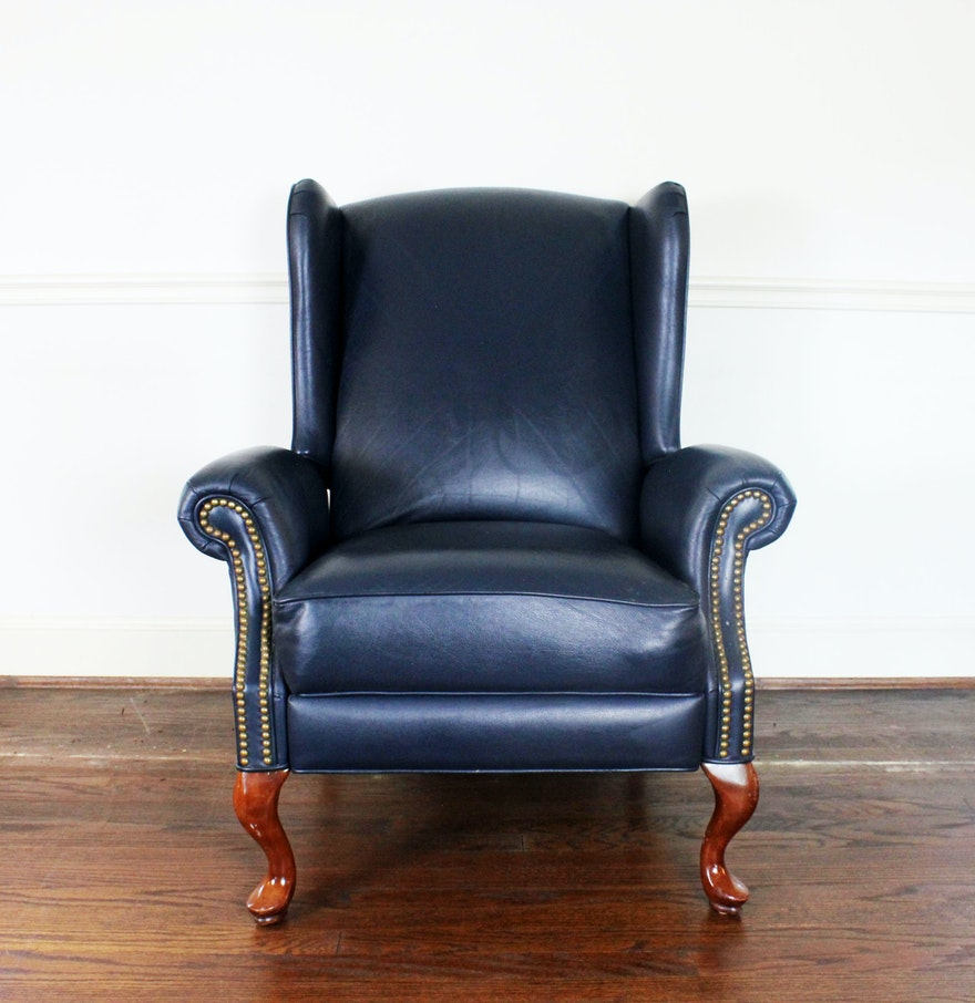 Queen anne style wingback leather reclining chair ebth for Leather wingback recliner sale