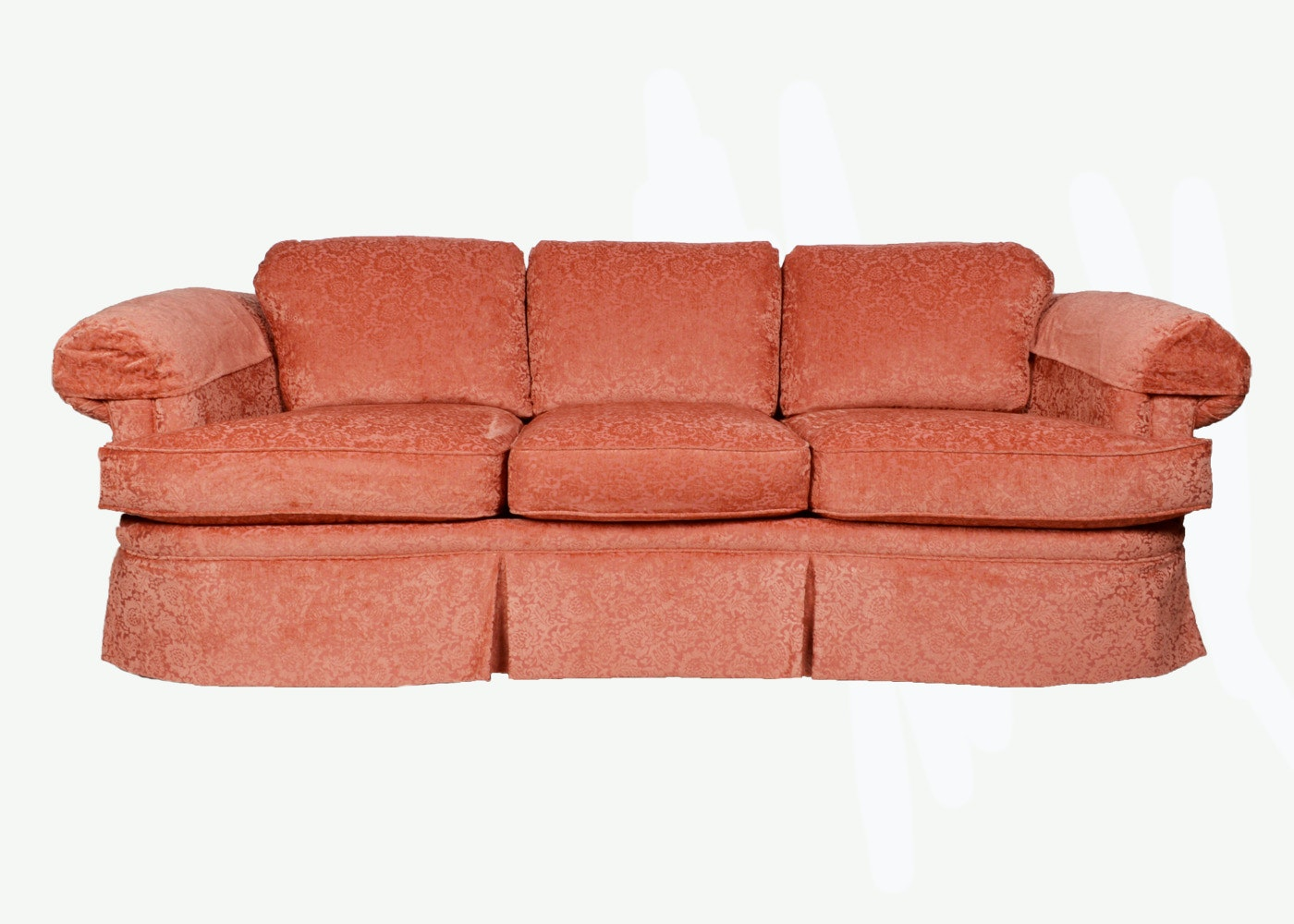 Plush Salmon Colored Sofa