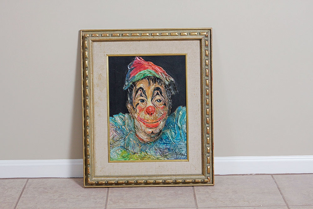Louis Spiegel Original Clown Oil Painting : Ebth