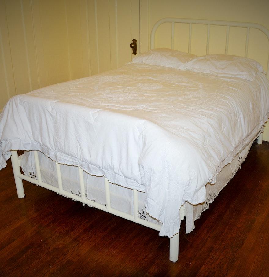 vintage hospital style bed frame with mattress and box spring ebth. Black Bedroom Furniture Sets. Home Design Ideas