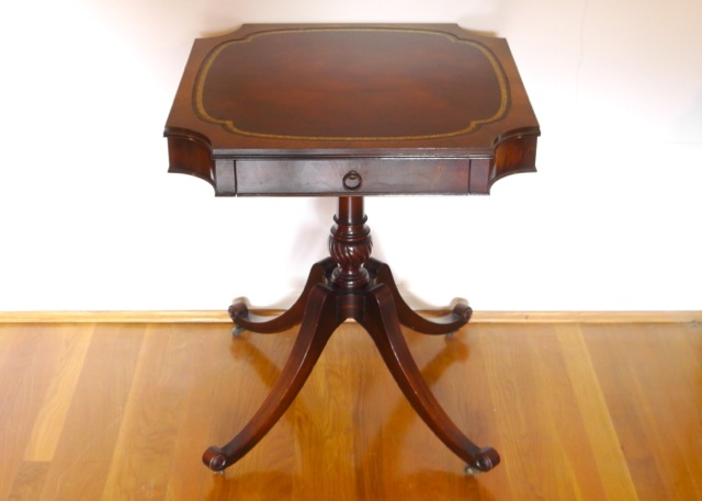 MidCentury Weiman Heirloom Side Table with Leather Top EBTH