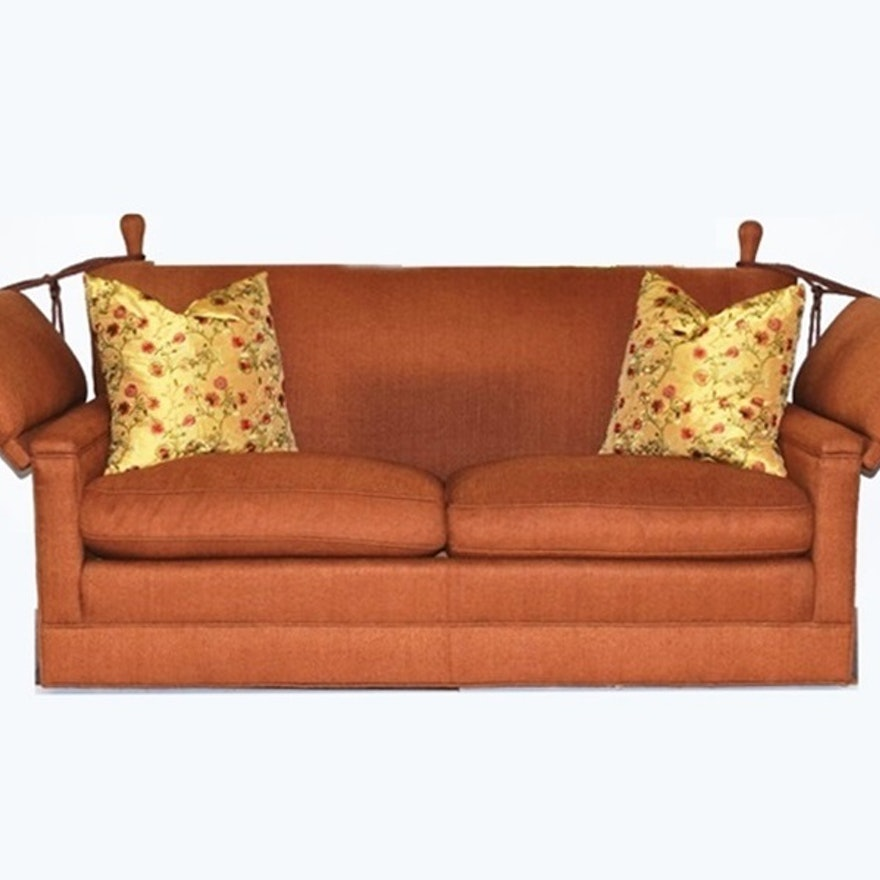 A Baker Knole Style Sofa In Slubbed Chocolate Brown Silk