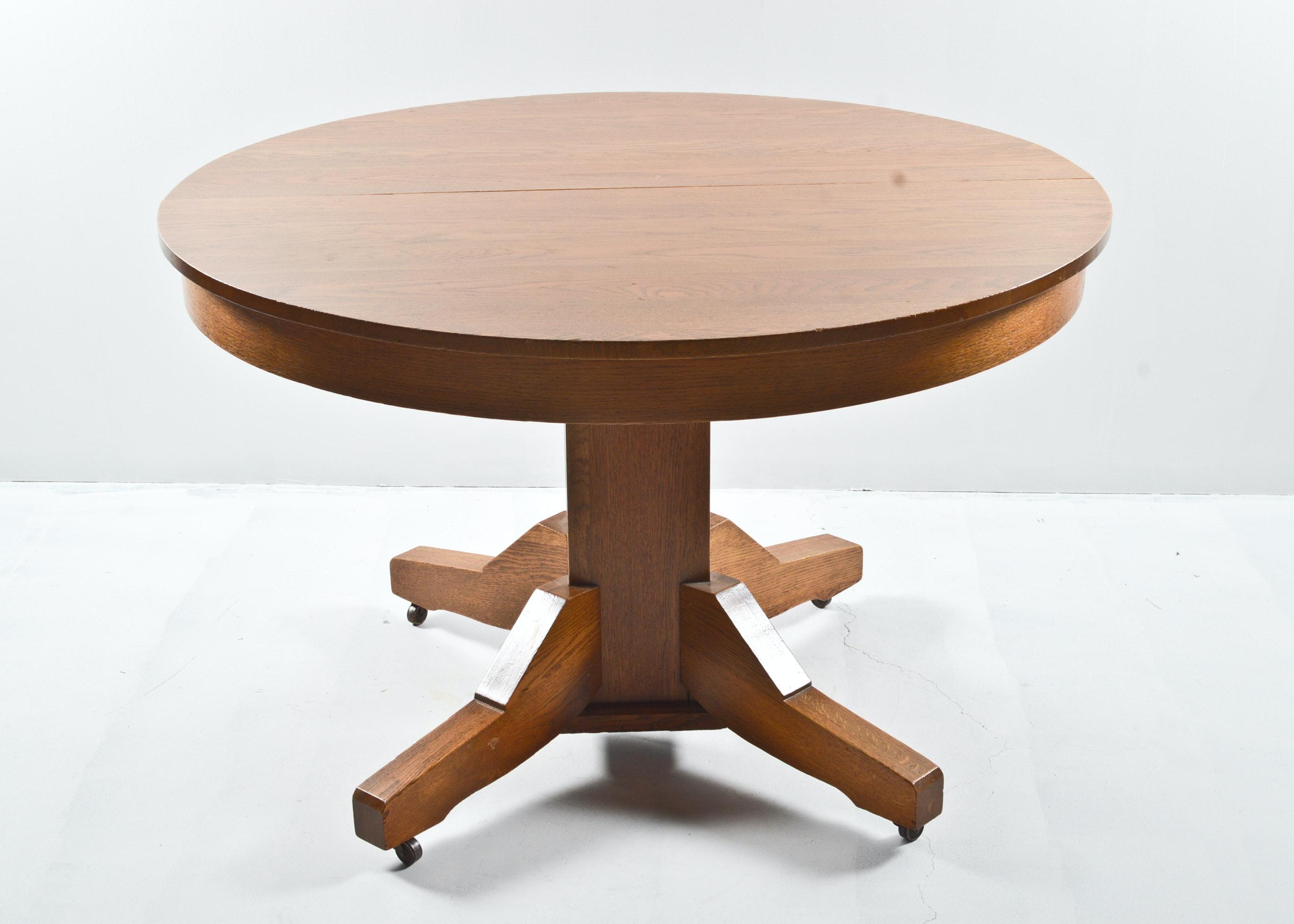 Mission Style Quarter Sawn Oak Round Dining Table on  : DSC03786jpgixlibrb 11 from www.ebth.com size 880 x 906 jpeg 88kB