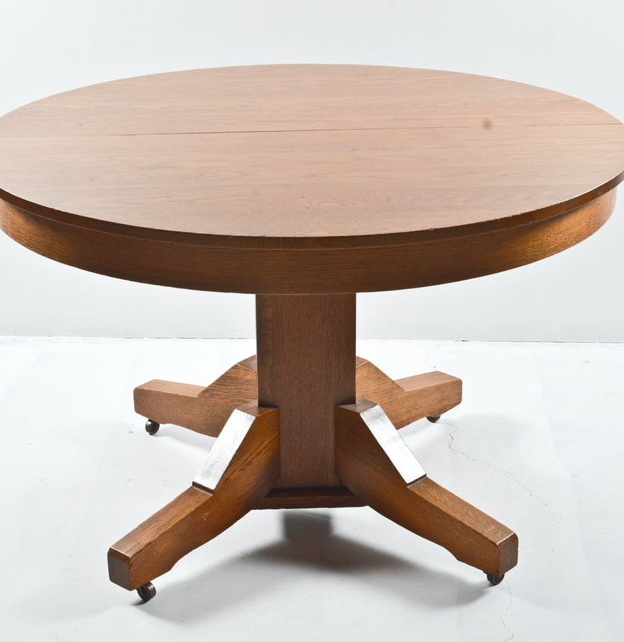 Mission style quarter sawn oak round dining table on for Mission style dining table