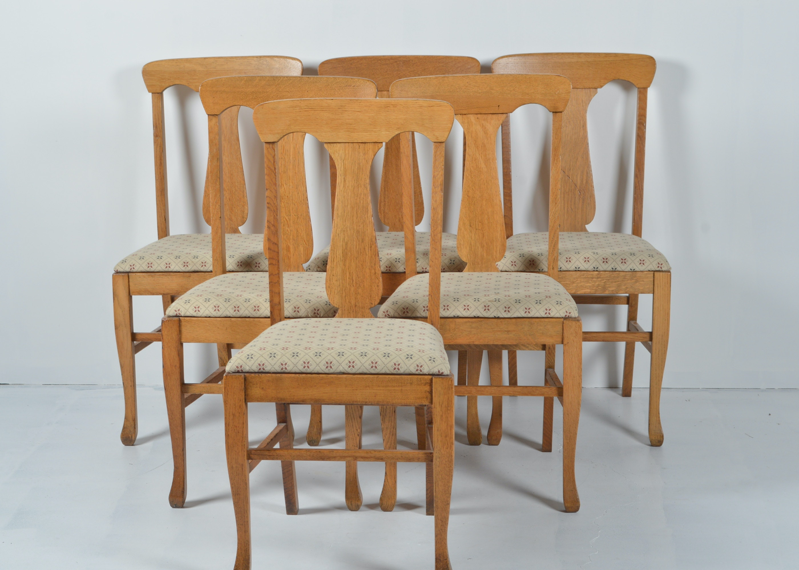 Set Of Six Antique Quarter Sawn Oak Dining Chairs Ebth