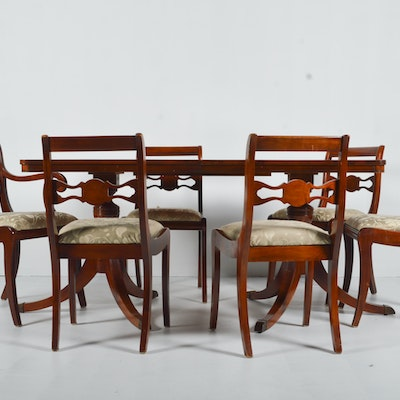 Regency Inspired Mahogany Dining Table And Damask Seated Chairs