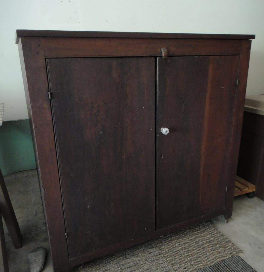 Vintage primitive wood cabinet ebth
