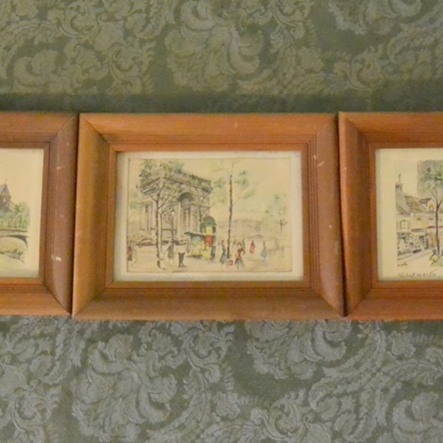 three small framed prints of paris by janicotte ebth
