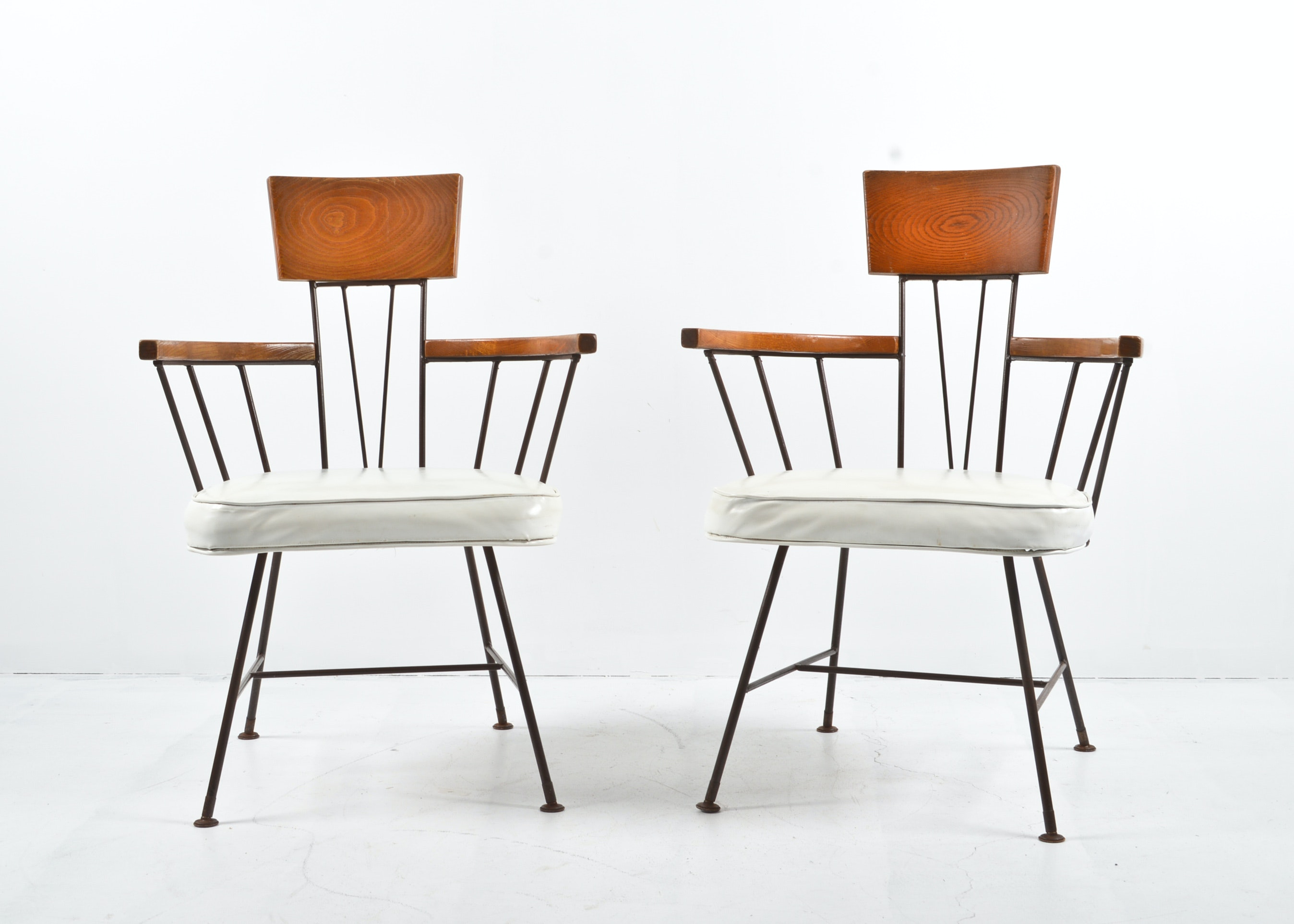 Pair Of Mid Century Ash And Iron Chairs By Mccarthy For