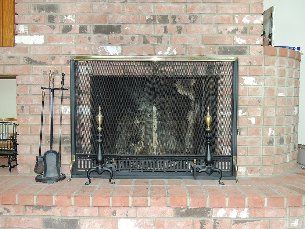 vintage fireplace screen tools and bennett andirons ebth