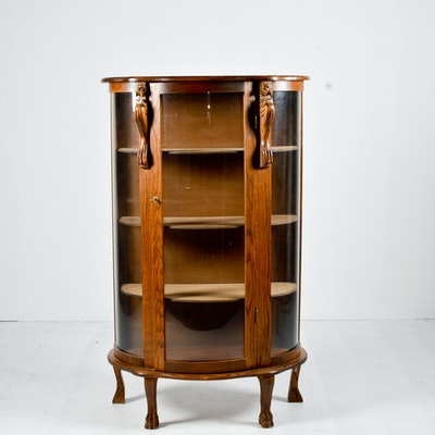 Antique Quarter Sawn Oak Curved Glass China Cabinet on Lion Paws - Vintage And Antique Cabinets Auction In Columbus, Ohio Showroom Sale