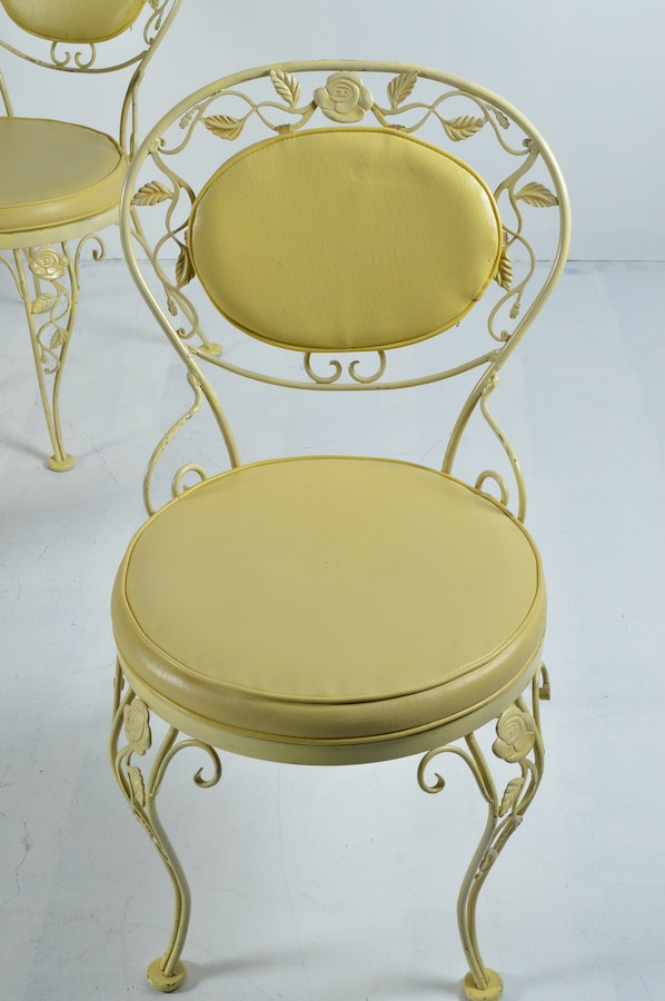 Vintage Woodard Chantilly Rose Yellow Iron Patio Chairs