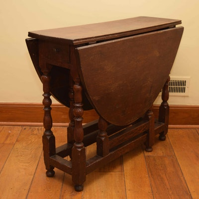 Antique English Oak Gateleg Table - Online Furniture Auctions Vintage Furniture Auction Antique