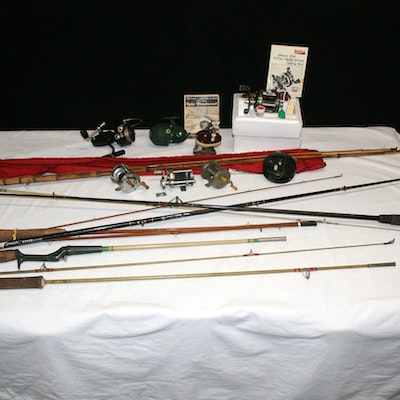Vintage fishing gear auction used fishing equipment in for Used fishing equipment for sale