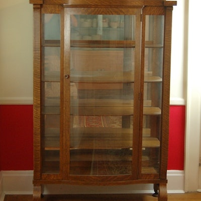 the co oak corner sold aurora cabinets curved antique of glass sale family heirloom display rules used for china curio modern cabinet
