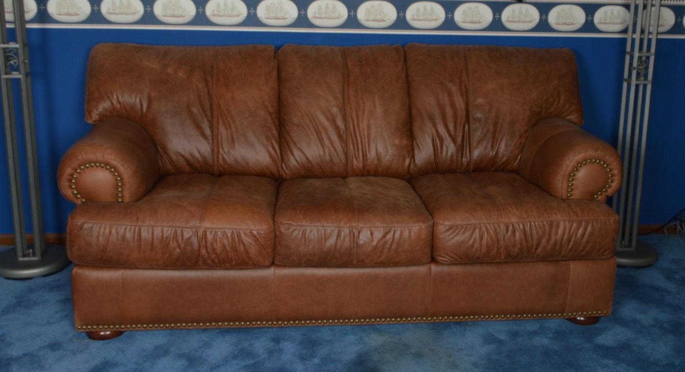 Overstuffed Leather Sleeper Sofa Ebth