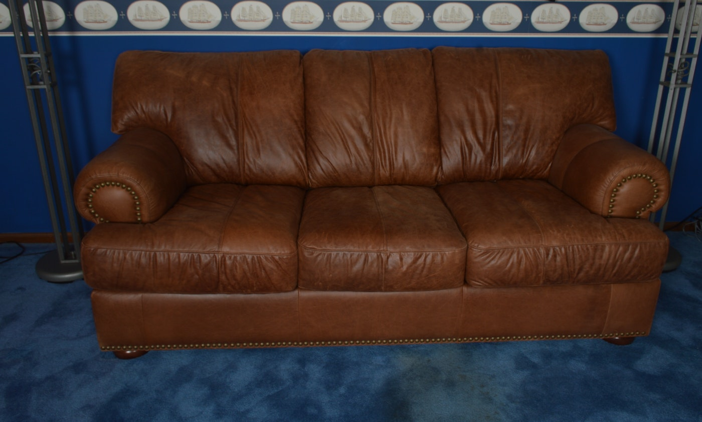 Overstuffed Leather Sleeper Sofa Ebth