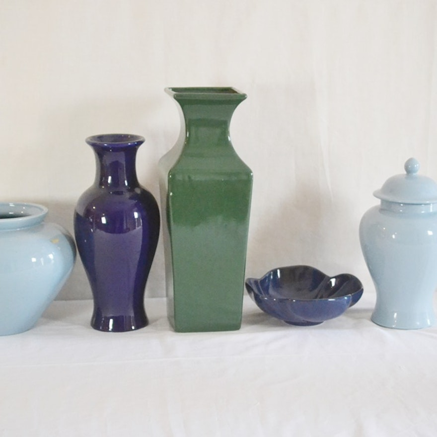 Haeger Pottery Vases A Bowl And A Jar Ebth