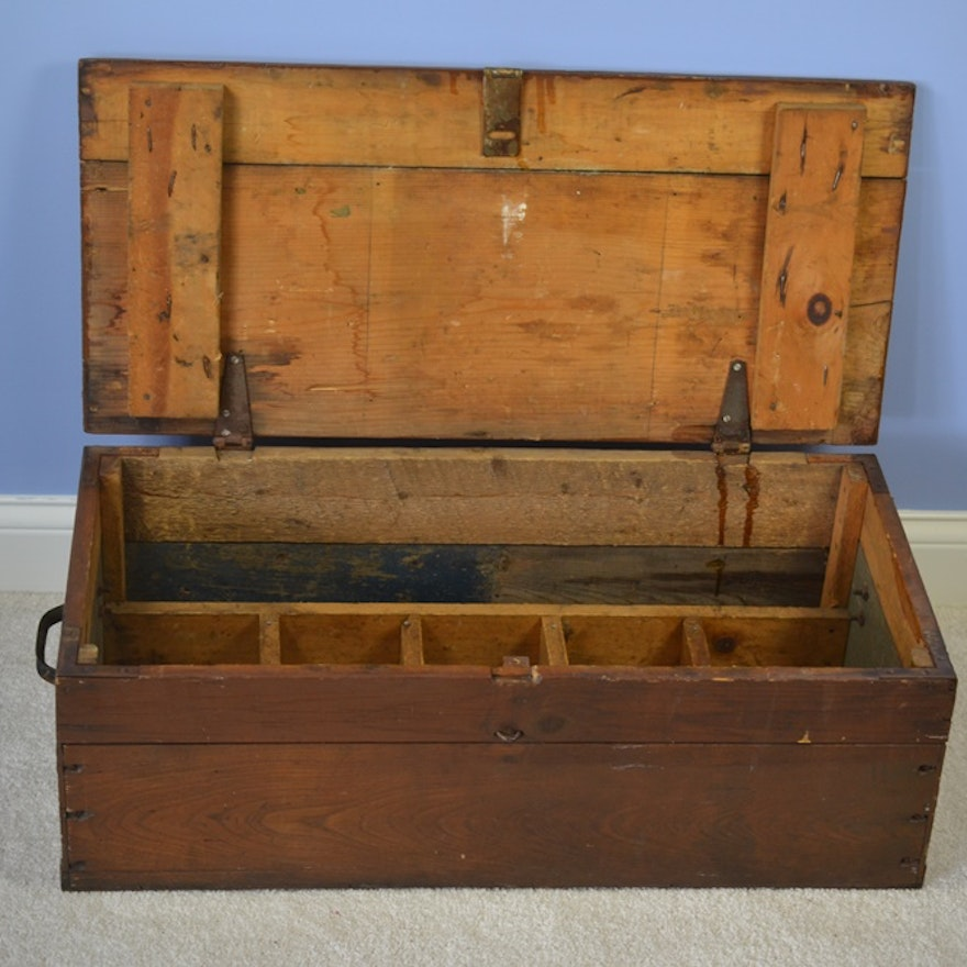 Hand Crafted Vintage Wooden Carpenters Tool Box