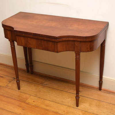 Antique Burled Walnut Game Table - Online Furniture Auctions Vintage Furniture Auction Antique