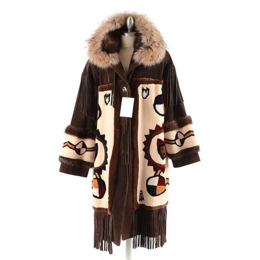 D'Arcy Moses Signed Sheared Beaver Fur and Suede Leather Coat