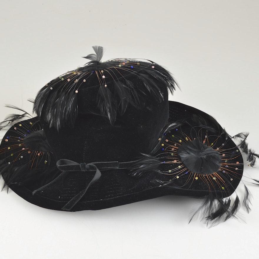 8300f4fc5e1 Fabulous Vintage Henry Margu Black Velvet Hat   EBTH