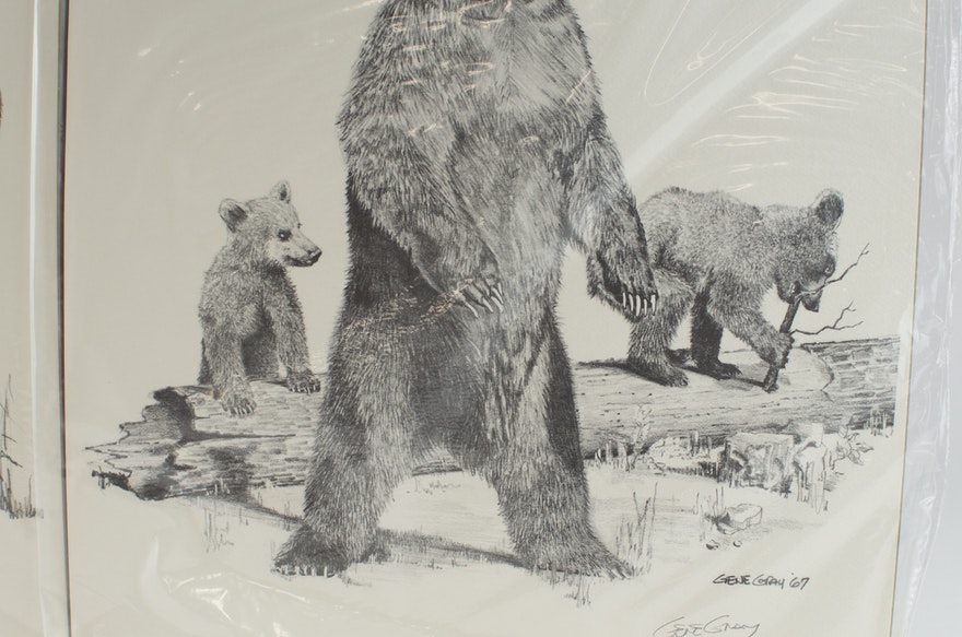 Pair Of Signed Animal Graphics Prints By Gene Gray Ebth