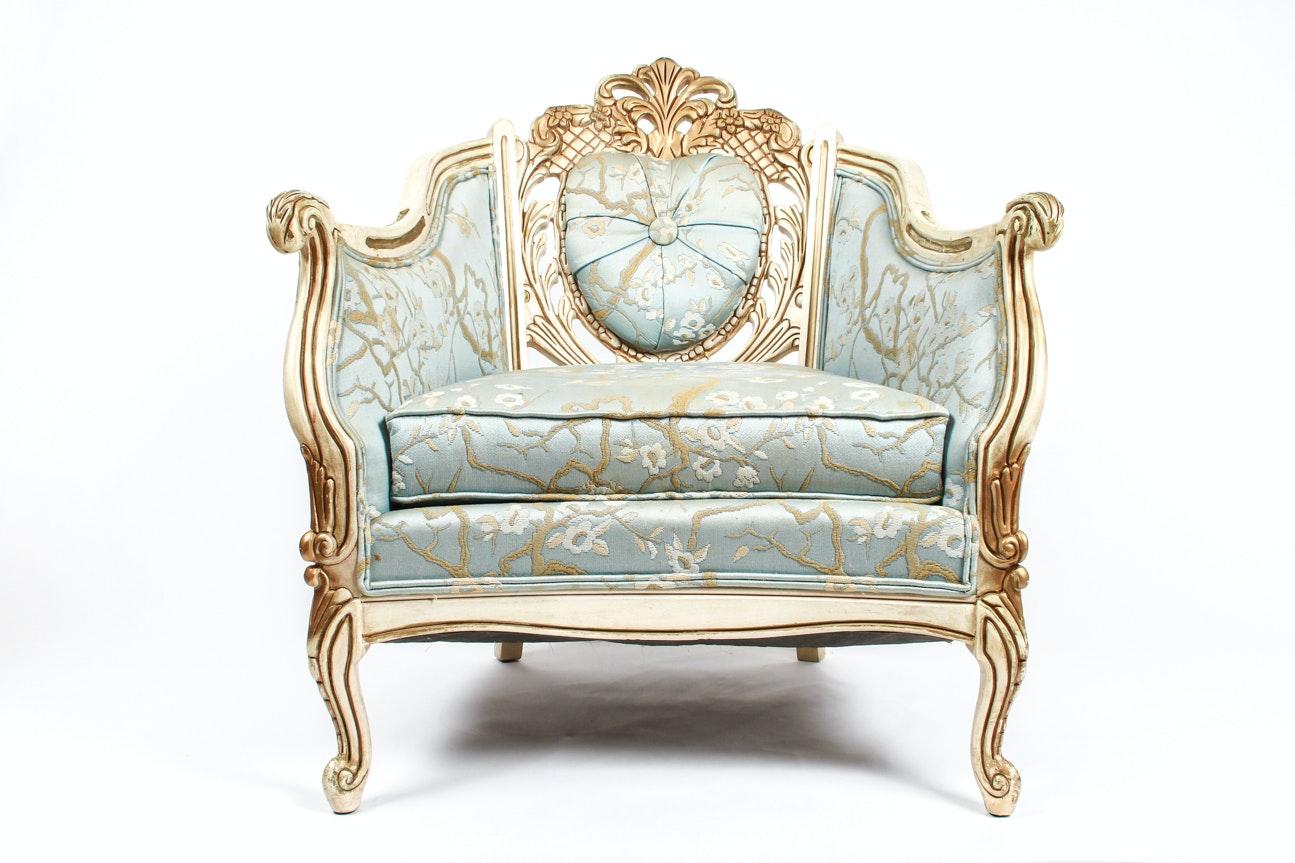 Robin Egg Blue Louis XV Style Bergère Chair