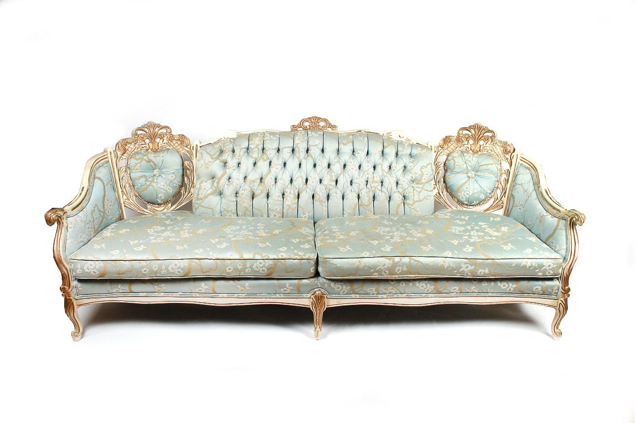 Robin Egg Blue Louis XV Style Sofa