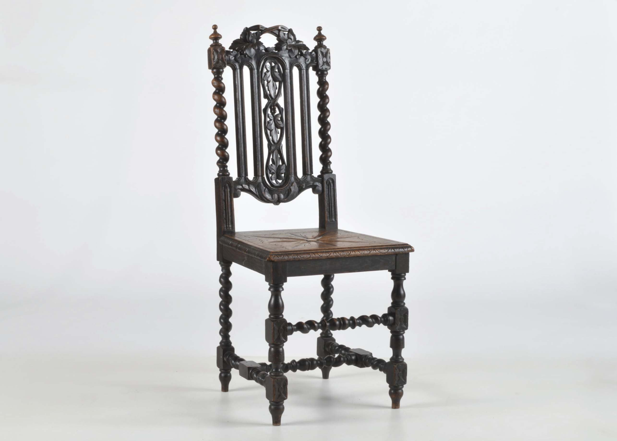 Victorian Floral Carved and Barley Twist Side Dining Chair ... & Victorian Floral Carved and Barley Twist Side Dining Chair : EBTH