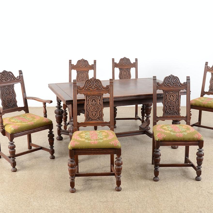 20th Century American Furniture Identification: Early 20th Century Bernhardt Jacobean Oak Dining Set