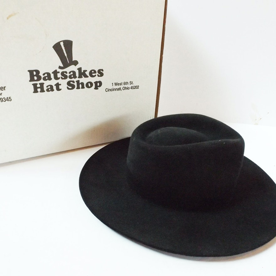 Batsakes Men s Black Suede Fedora Hat with Box   EBTH 4a5c6a6bd90