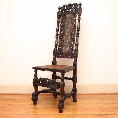William and Mary Period Chair from Henry L. Faulkner Estate - Online Furniture Auctions Vintage Furniture Auction Antique