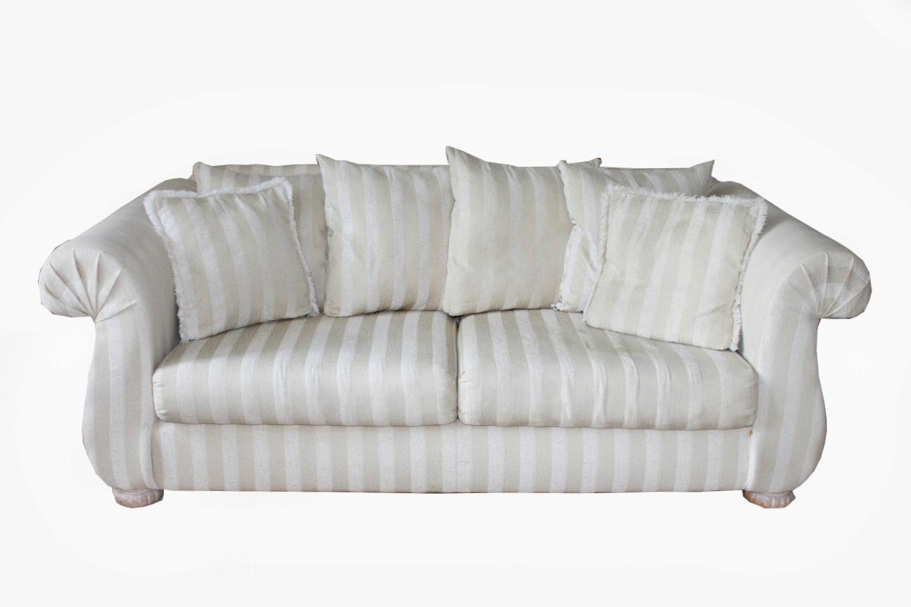 Plush Ivory And Cream Striped Sofa Ebth