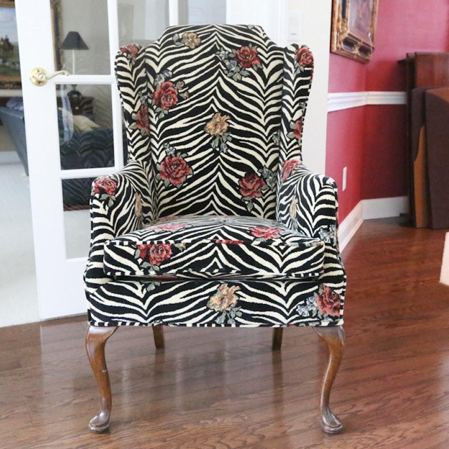 Zebra Print Traditional Style Wingback Chair Ebth