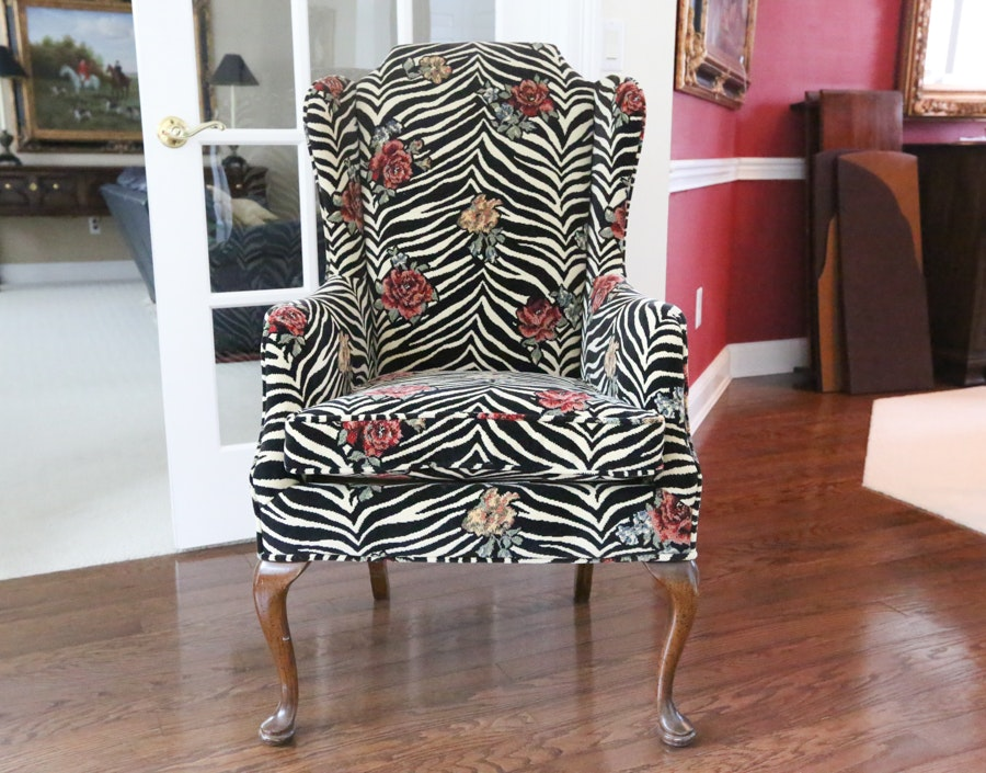 Zebra Print Traditional Style Wingback Chair ...