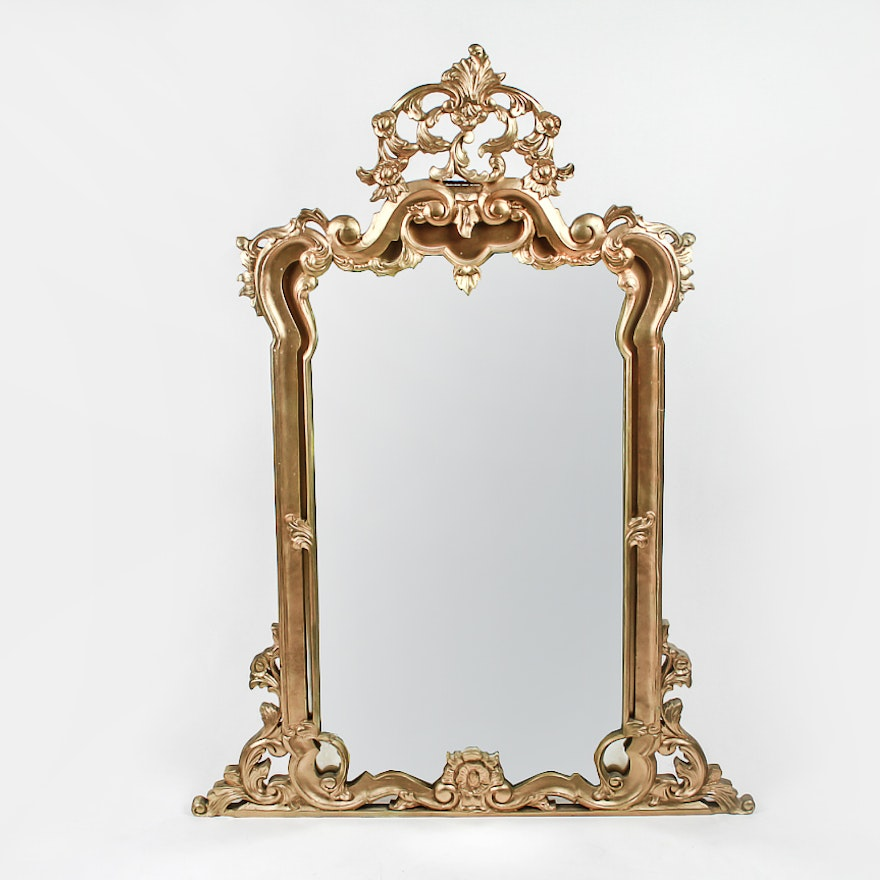 Large Elegant Gold Wall Mirror Ebth