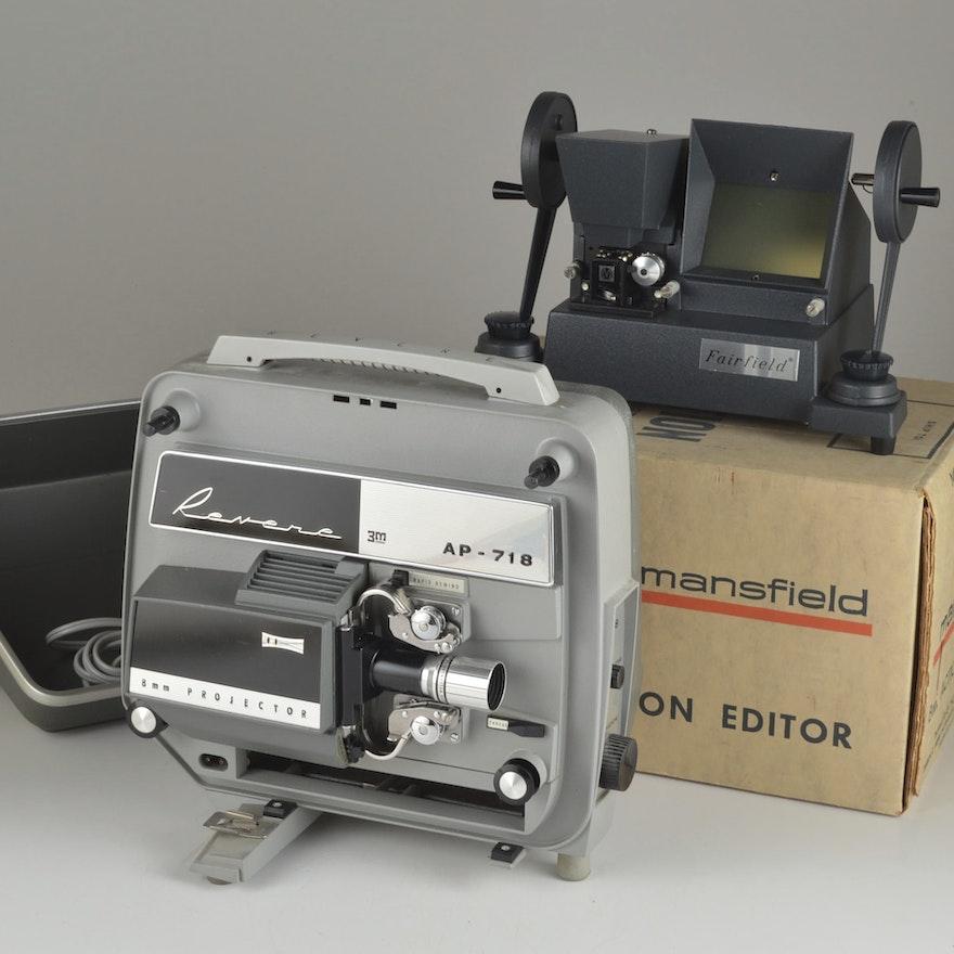 Revere AP-718 8mm Projector & 8mm Editor