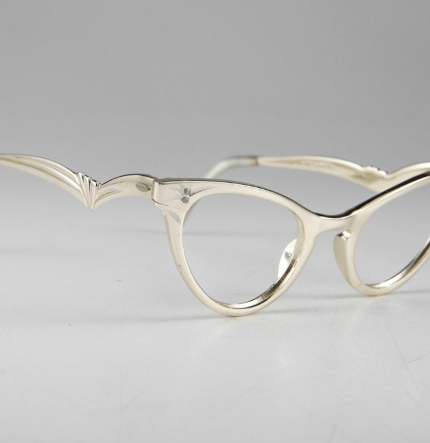 Eyeglass Frames On Consignment : 1960s Vintage Titmus Aluminum Eyeglass Frames in Gold : EBTH