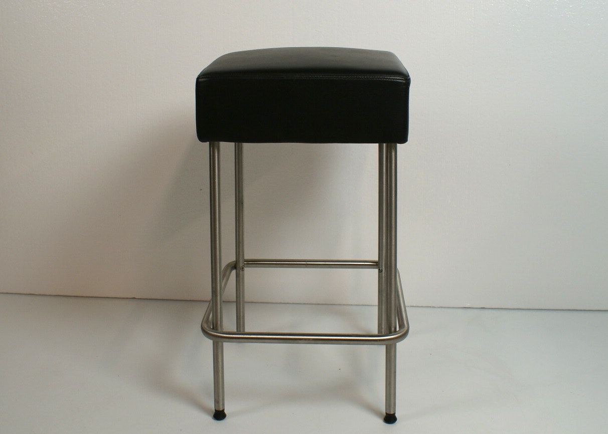 Ikea Julius Leather And Stainless Steel Counter Height Stool ...
