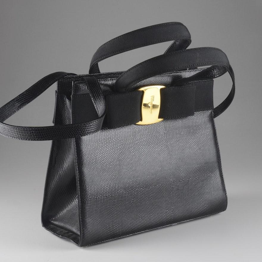 70c690e8d5 Salvatore Ferragamo Black Lizard Skin Leather Handbag Purse   EBTH