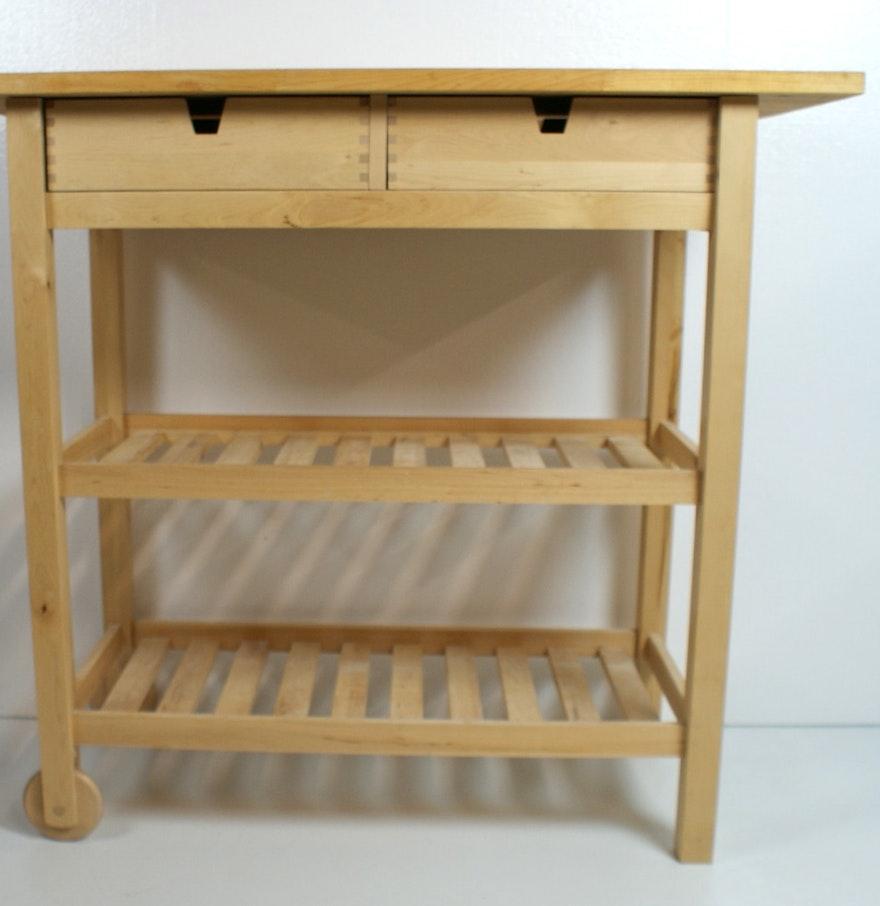 Kitchen Butchers Block Trolley Ikea : Ikea Kitchen Cart with Butcher Block Top : EBTH