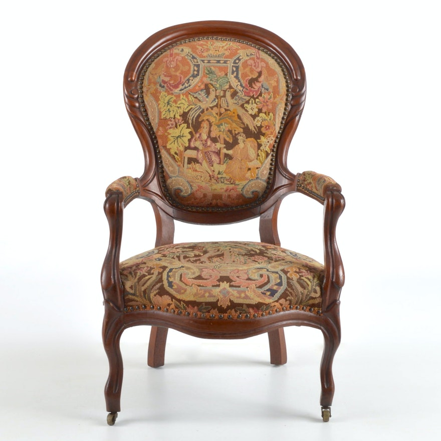 Antique Embroidered Chair ...